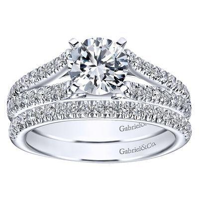 14k White Gold Diamond Split Shank Engagement Ring ER6666W44JJ