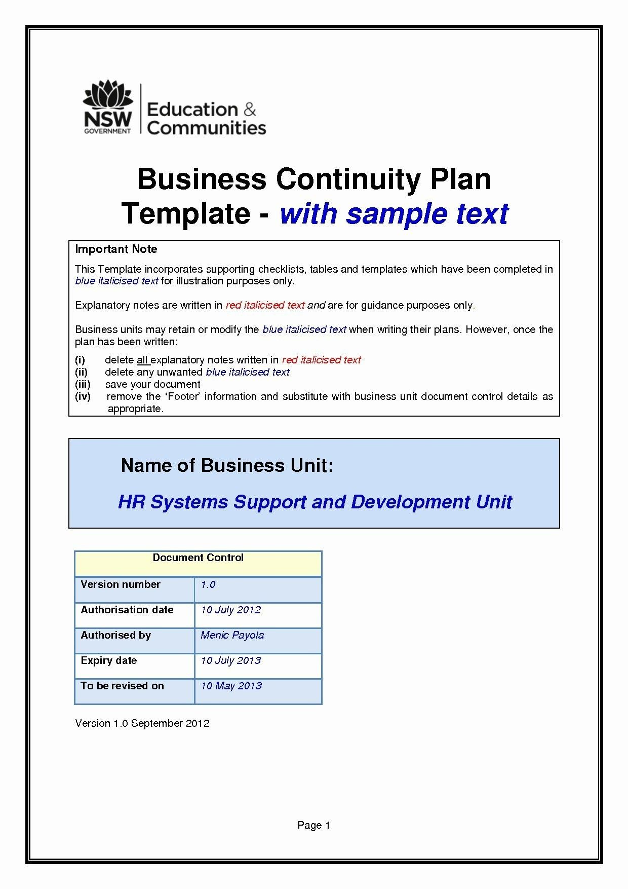 New School Business Continuity Plan Template Business
