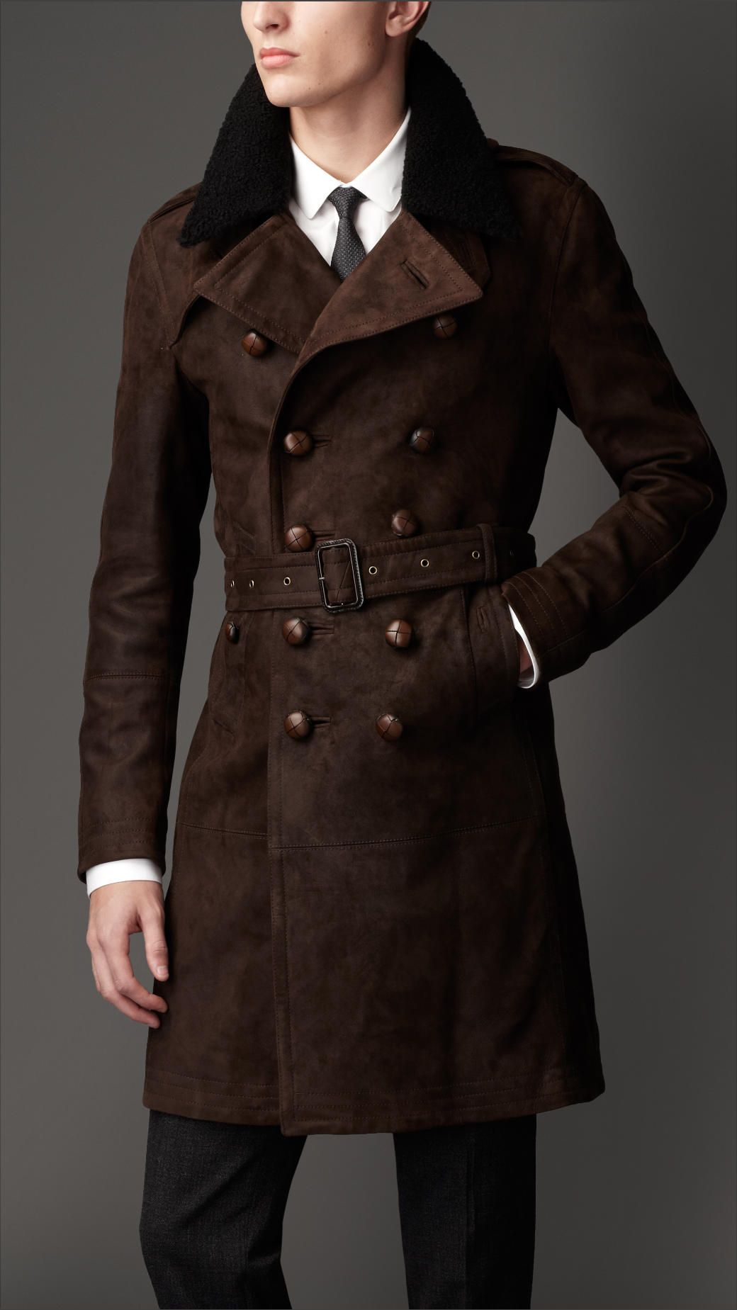 9fb09de5c1b3 Burberry Mid-Length Shearling Collar Suede Trench Coat in Brown for Men  (lentil brown)