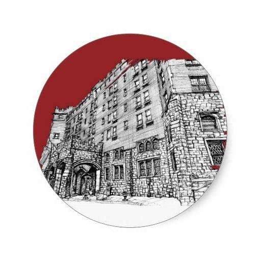 Red architectural ink round sticker