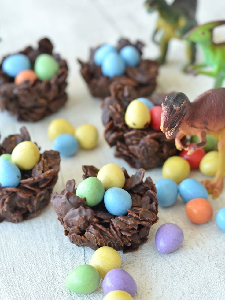 Chocolate dinosaur nests dinosaur party food birthday