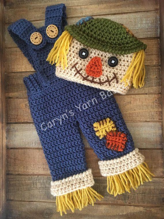Scarecrow Fall Halloween Crochet Costume, Boy/Girl Photo Prop, Baby ...