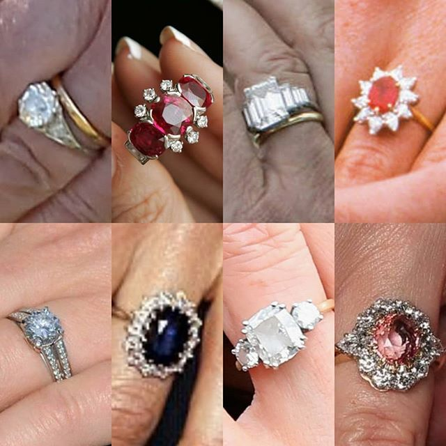 Royal Wedding Week Here Is A Look At Royal Engagement Rings Do You Have A Favorite From Top Left To B Royal Engagement Rings Royal Rings Royal Crown Jewels