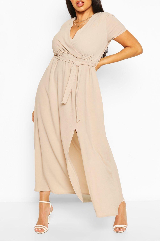 Women S Plus Wrap Cap Sleeve Maxi Dress Boohoo Uk Maxi Dress Curvy Maxi Dress Maxi Dress With Sleeves [ 1500 x 1000 Pixel ]