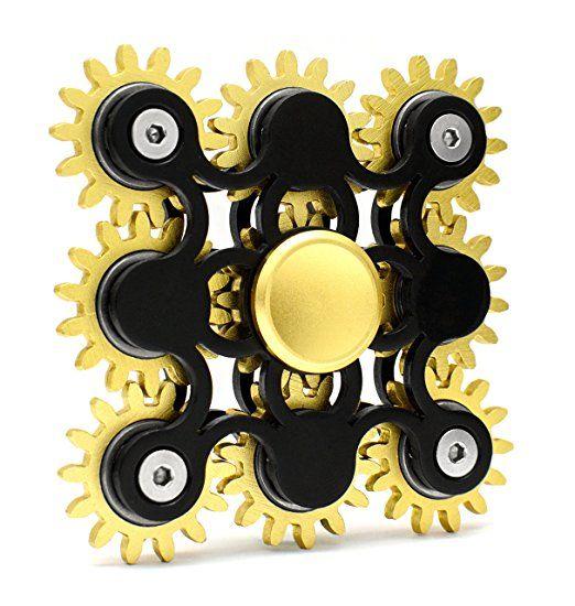 Fidget Hand Spinner 9 Gear Kugellager Stressabbau & Entspannung Spielzeug mit Metallbox (schwarz)