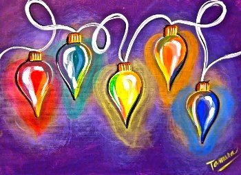 Glowing Lights From Uptown Art On A Smaller Size Canvas As I Do Not Want This To Be The Main F Christmas Canvas Christmas Paintings On Canvas Painting Crafts