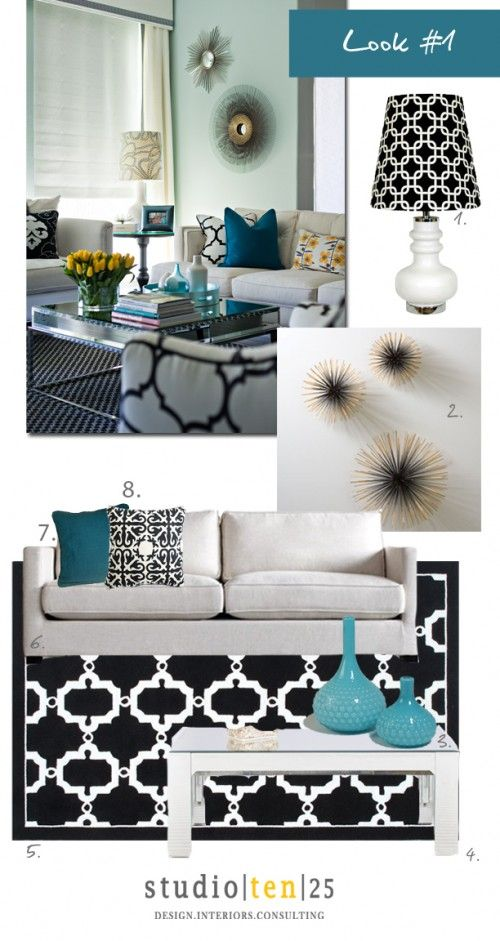 1. White lamp With Graphic Shade 2. Wall Starburst 3. Pebble Vases 4. Mirrored Coffee Table  5. Black & White Rug 6. White Sofa 7. Teal Pillow 8. Black & White Graphic Pillow