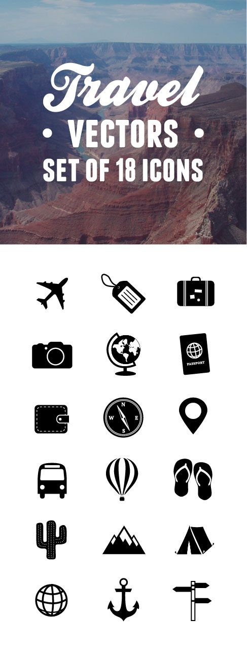 Super Cute Set Of 18 Travel Vector Icons Could Be A Great Idea For A Travel Blog Logo Travel Symbols Travel Icon Icon Tattoo