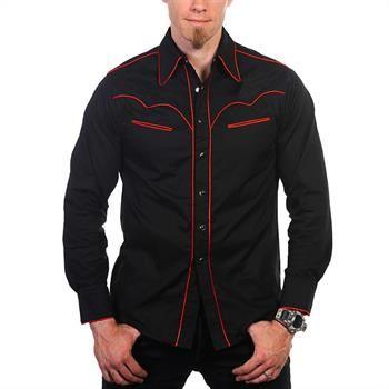 Supermodisches, langärmeliges Hemd im Rockabill- Stil von Banned mit  kontrastfarbenden Paspelierungen und schlanken Passform