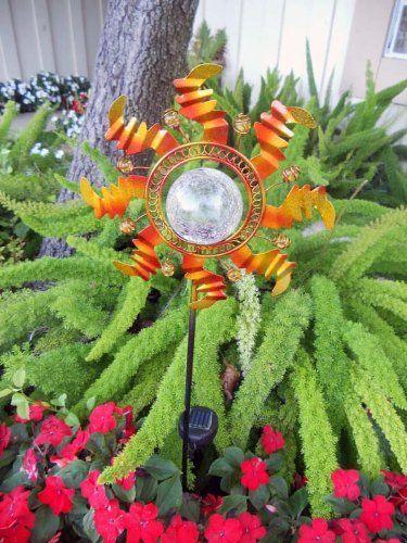 Metal Sunflower Garden Solar Color Changing Stake By Garden Sunlight.  $24.95. Beautiful Solar Power