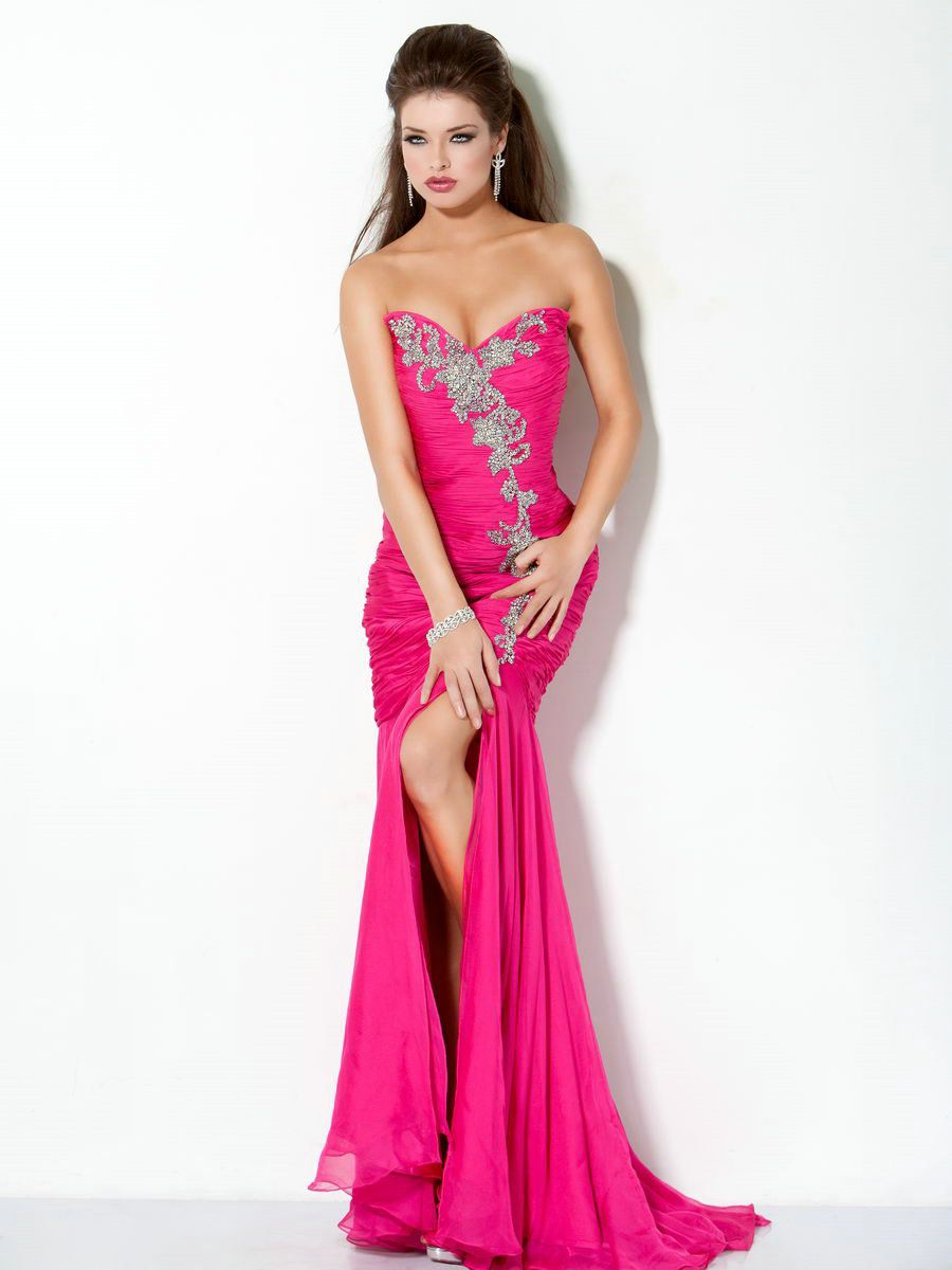 Sweetheart Ruched High Slit Handmade Beaded Chiffon Sexy Hot Pink ...