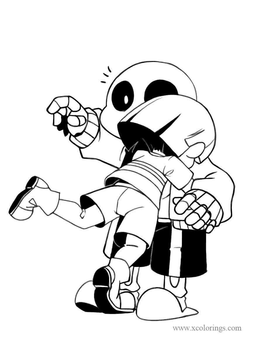 Undertale Frisk and Sans Coloring Pages.  Coloring pages