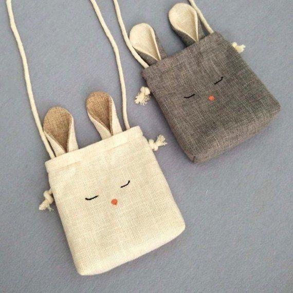 TAM Kids Bunny bag Toddler purse Cross Body Bag , Rabbit and Fox Burlap shoulder bag #purses