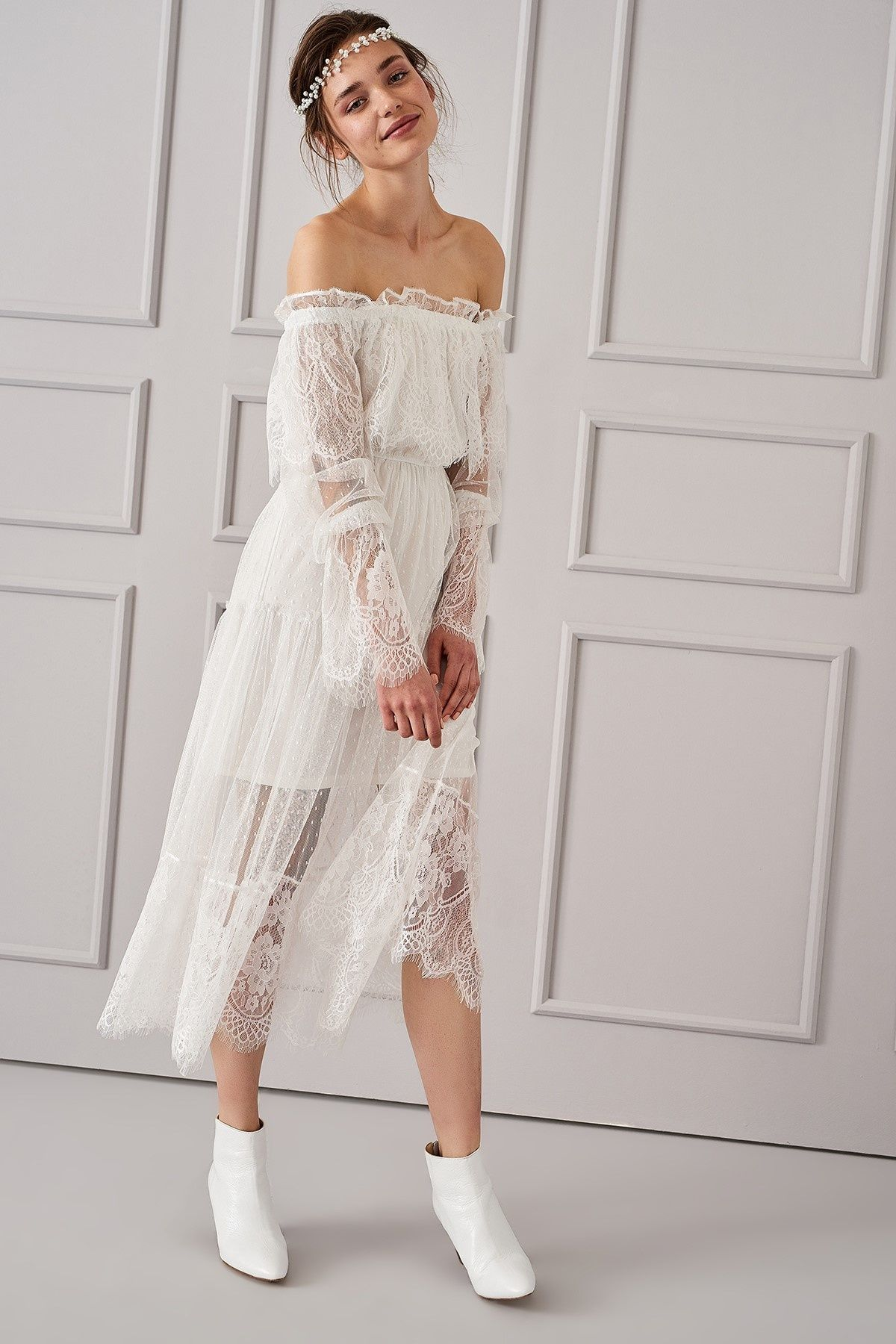 Ekru Carmen Yaka Elbise Trendyolmilla Trendyol Elbise Giyim The Dress