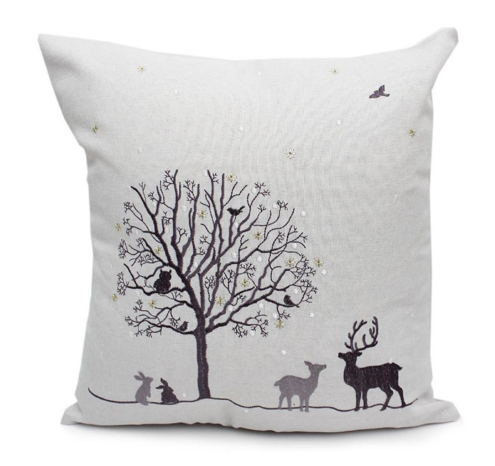 Coppice Christmas Winter Woodland Cushion 40cm x 40cm in