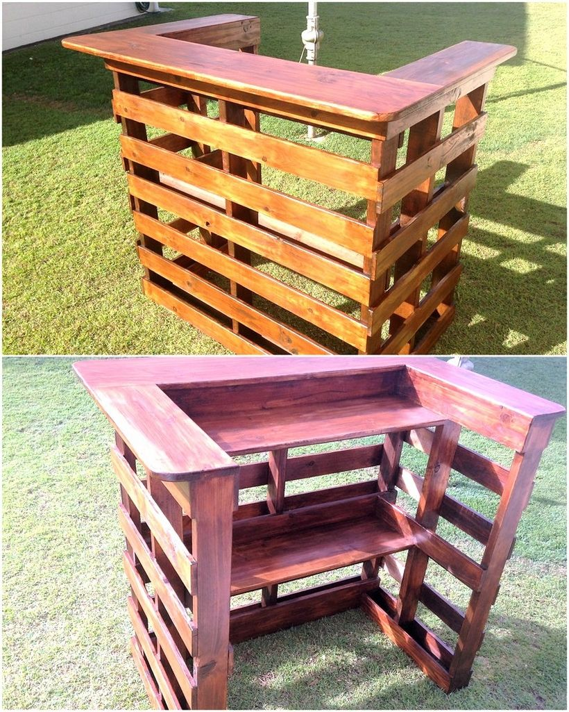 Smashing ideas for pallet reusing wood bars pallet wood for Wood outdoor bar ideas