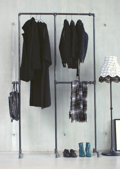 Photo of BOB – Freestanding clothes rail with three compartments and hooks