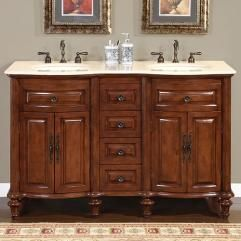 55 Inch Double Sink Bathroom Vanity With Cream Marfil Marble