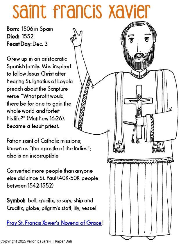 Paper Dali: Free Saint Francis Xavier Coloring Page | Kids\' Table ...