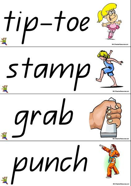 42 Action Vocabulary Words   Movement Cards   Pinterest