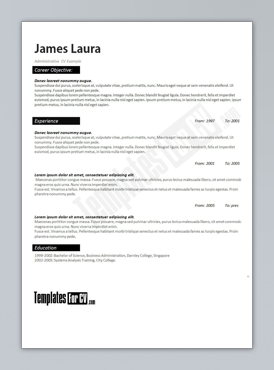 Administrator cv template cv template administrator for How to create a cv template in word