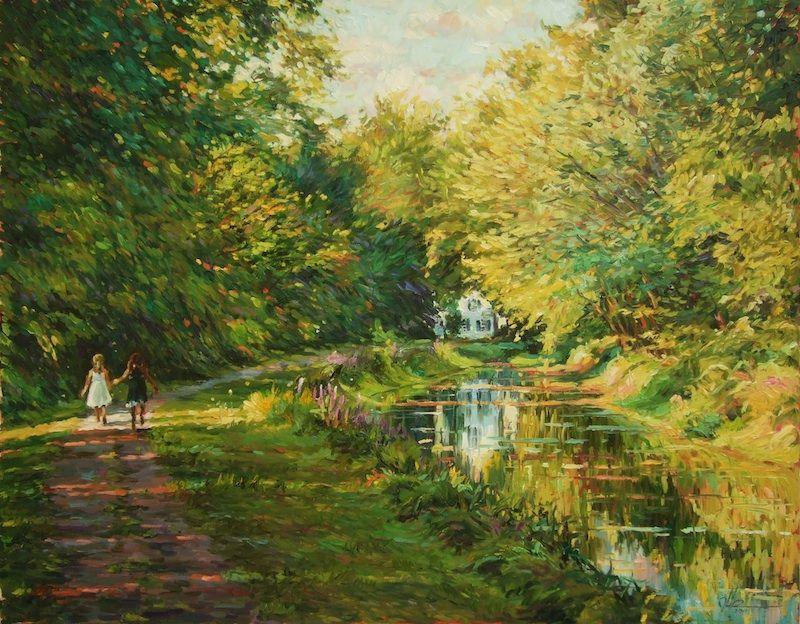 Silverman Gallery Impressionist Art - Canal in Summer - Jennifer Hansen Rolli