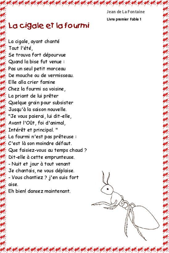 Imprimer La Cigale Et La Fourmi De La Fontaine Les