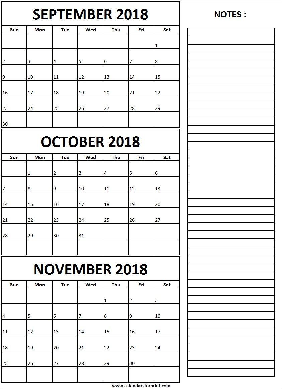 September October November 2018 Calendar With Notes September 2018