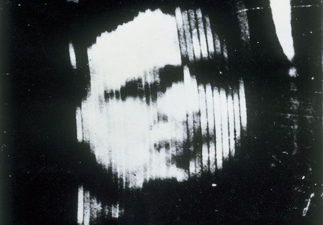 Distorted monochrome image of Oliver Hutchinson's face
