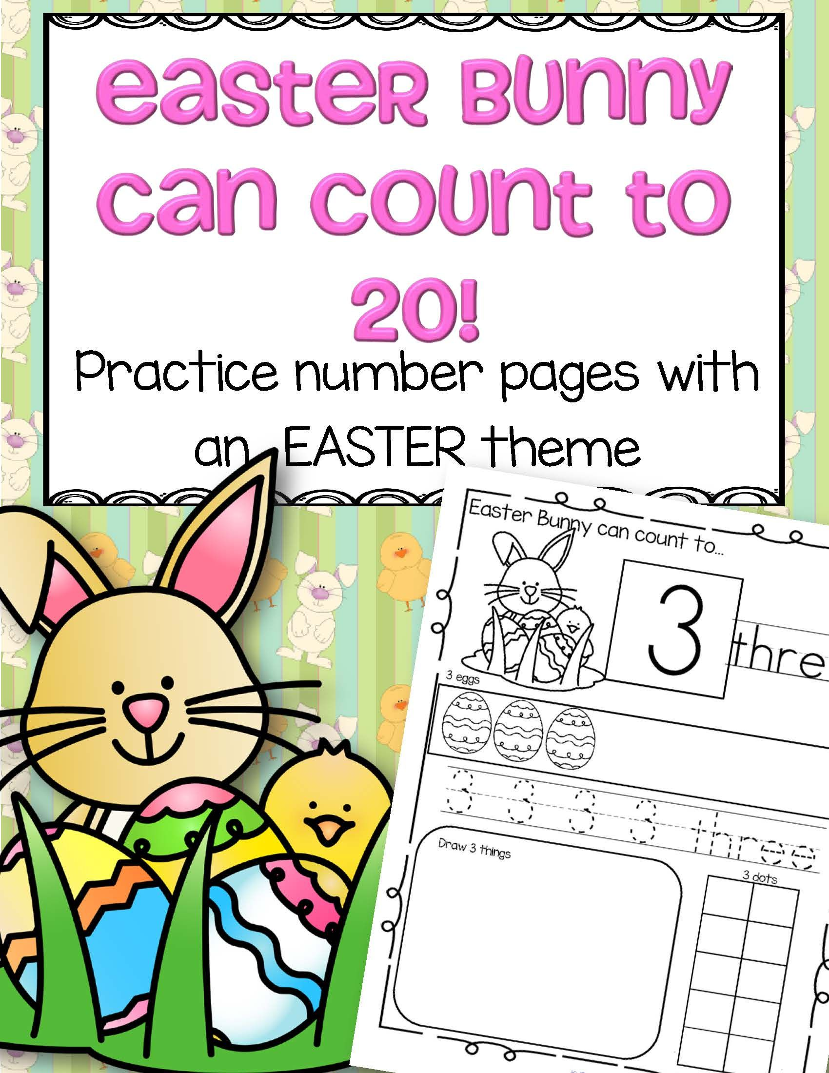 Easter Bunny Number Practice Printables
