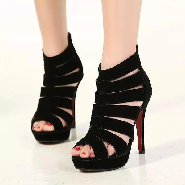 Summer Open Toe Hollow Ankle High Heel Roman Pumps Sandals
