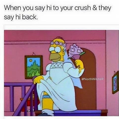 When You Say Hi To Your Crush And They Say Hi Back Simpsons Meme Homer Simpson Meme Homer Simpson