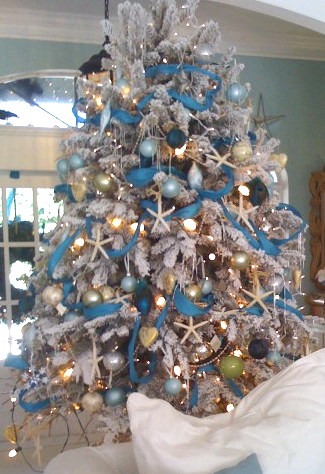 25 coastal christmas holiday trees inspired by the sea were in florida it is a boat parade the theme is blue and silver frozen for the kids