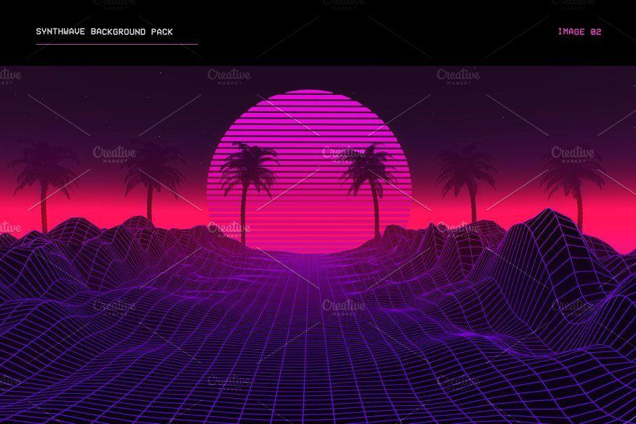 Synthwave Retrowave Background Pack ~ Web Elements ~ Creative Market
