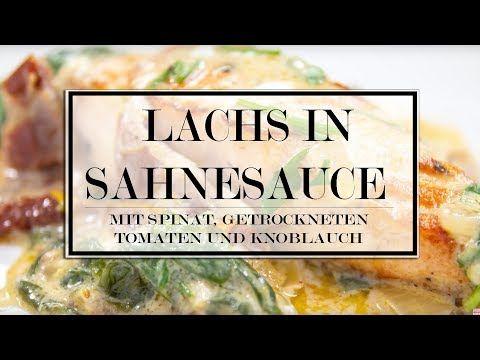 Lachs in Sahnesauce mit Spinat, getrockneten Tomaten und Knoblauch