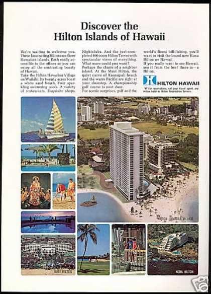 Hilton Hotel Hawaii Kona Maui Hawaiian Vintage 1968
