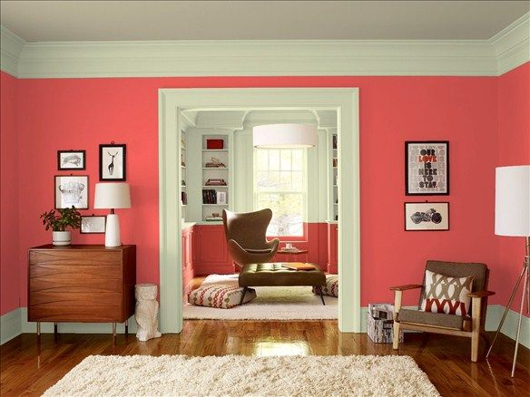 Transitional Living Room! Wall Color: Red Parrot   Shelf Inserts U0026 Ceiling  Color: Meditation   Trim U0026 Wall Top Color: Guilford Green