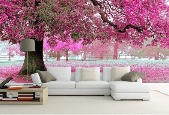 charming 3D image wallpaper for living room wall behind sofa Fantasy ...