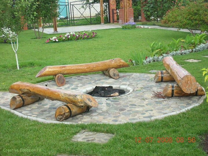 love the log benches   it rains a lot in Seattle, these would be - jardines con bancas