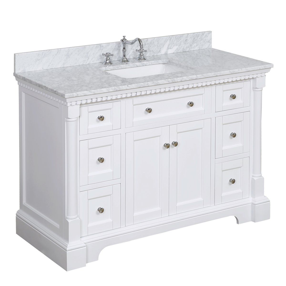 Sydney 48 Inch Vanity Carrara Marble In 2020 Luxury Bathroom