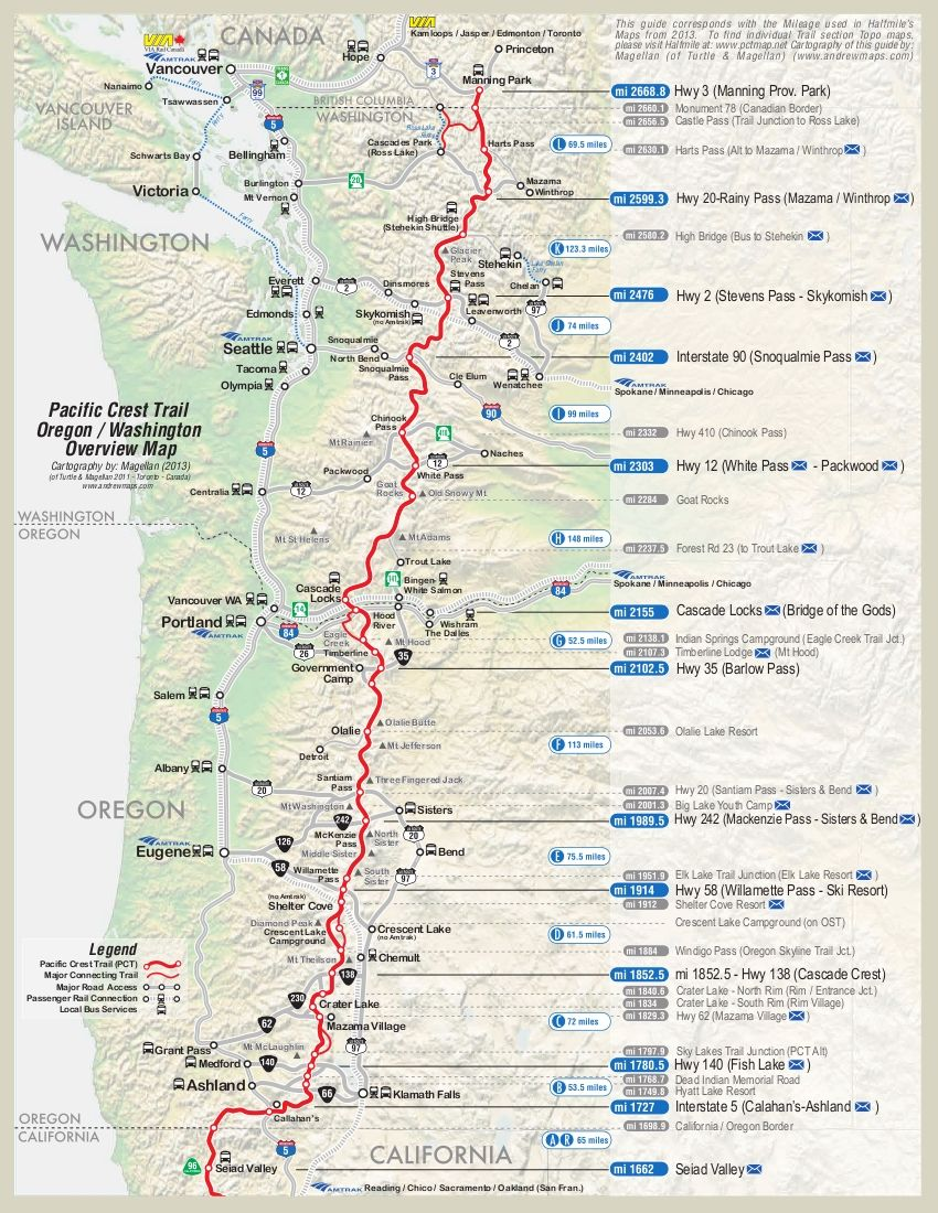 pct plan with dates and places and where resupplies are ...