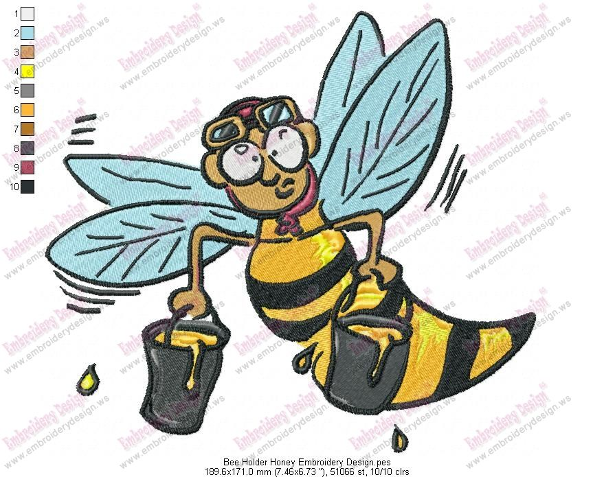 Bee Holder Honey Embroidery Design