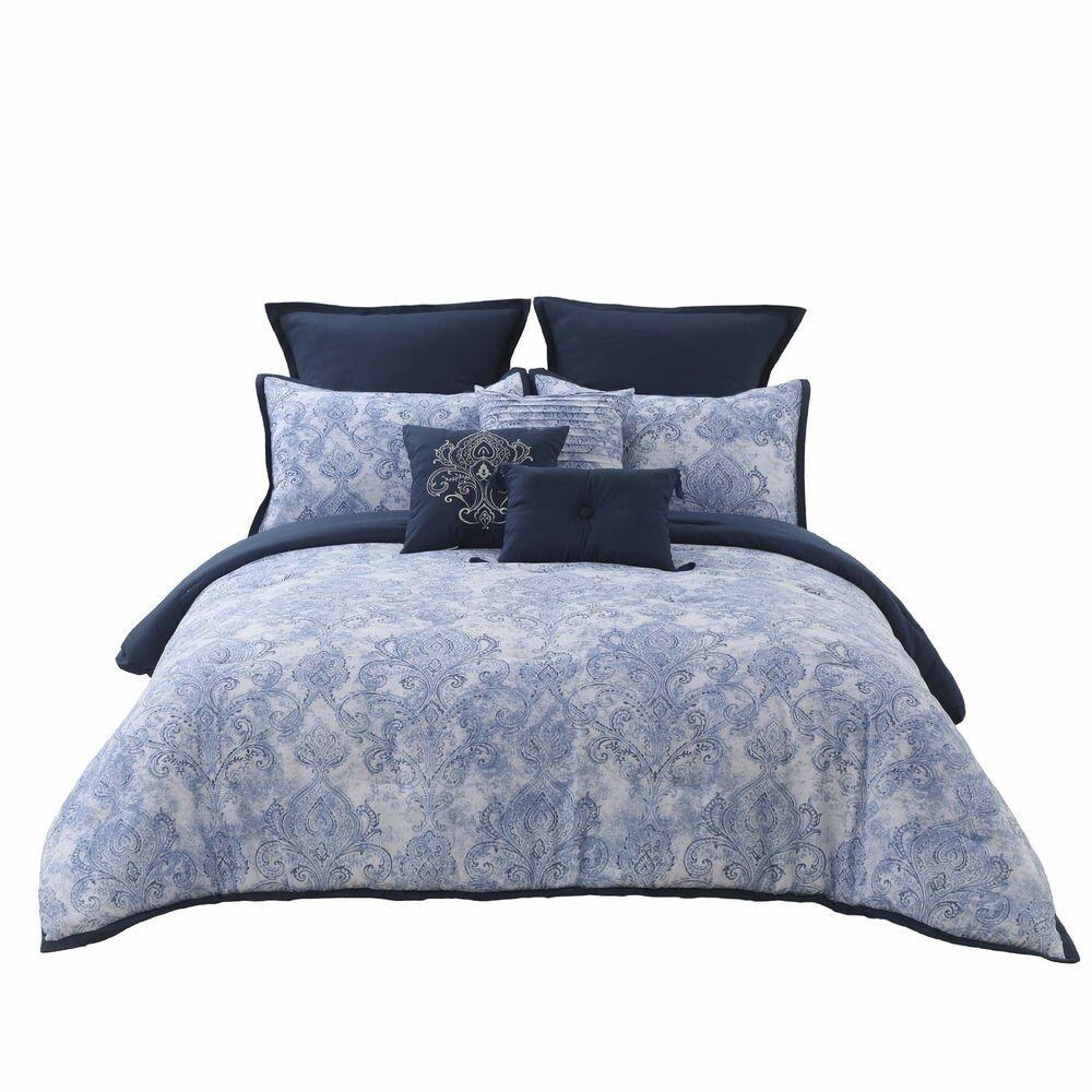 Wonder Home Summer Comforter Set King100x90 9 Pieces Blue Paisley