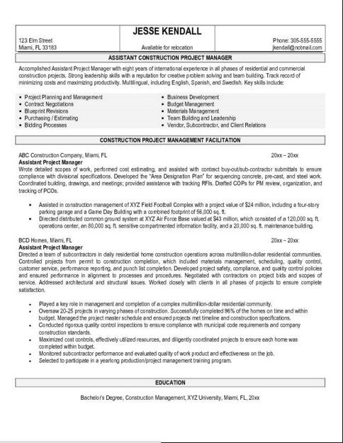 Entry Level Project Manager Resume Samples Project Manager - resume samples project manager