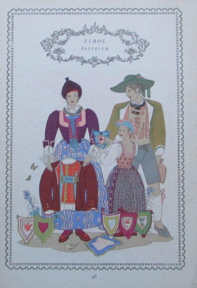 Tracht Tirol DEFEREGGEN 1937 Alpenländer alter Druck old print national costume