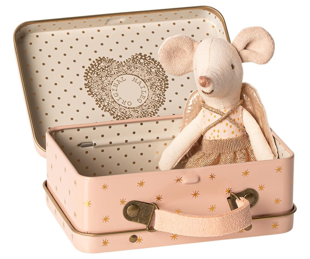 Maileg Little Sister Guardian Angel Mouse in Suitcase - Trouva