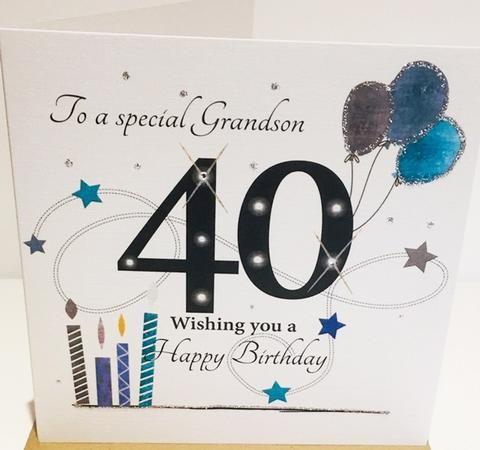 40th Birthday Card Grandson 6 X 6 Inches Herbysgifts Com 40th Birthday Cards Birthday Cards 40th Birthday