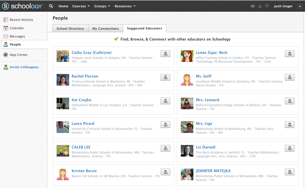 Schoology Suggested Educators to Network With