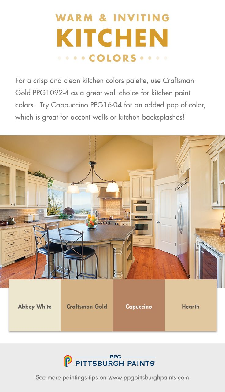 Choosing Warm U0026 Inviting Kitchen Paint Colors   For A Crisp And Clean  Kitchen Colors Palette, Use Craftsman Gold PPG1092 4 As A Great Wall Choice  For ...