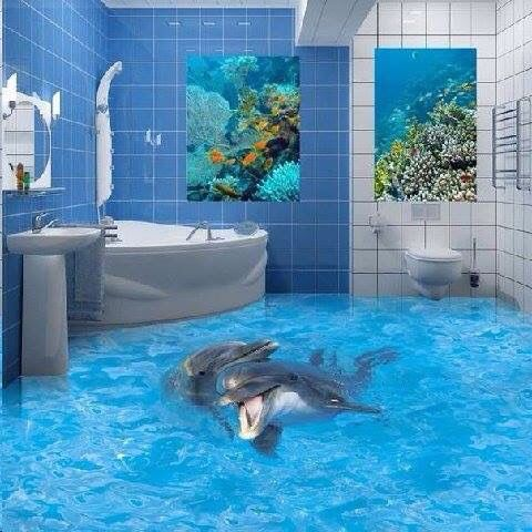 Ocean Dolphin Bathroom They Should Have Just Painted The Whole Wall Why Bother With 2 Pics Lol